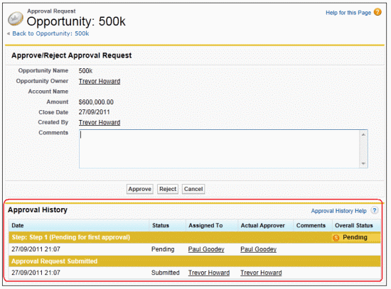 Approval Process example in salesforce