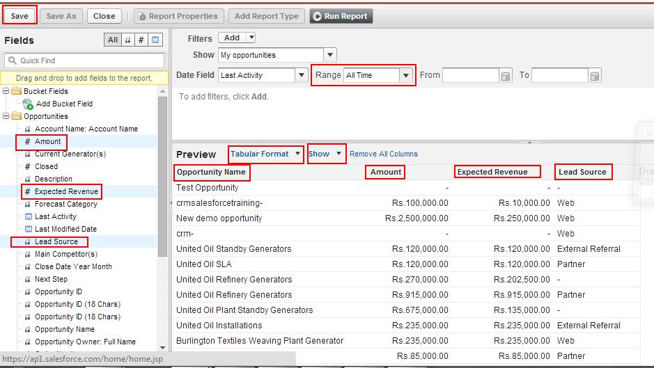 Creating custom reports in salesforce - Salesforce Tutorials