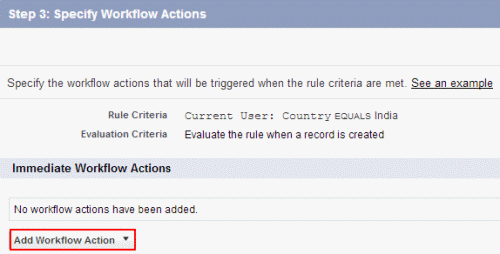 workflow rule creation