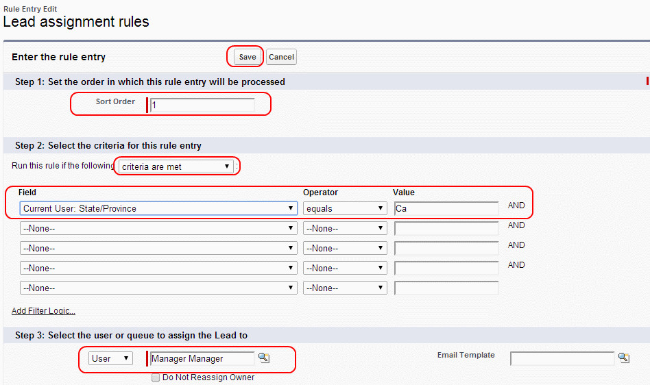 lead assignment rules in salesforce.com