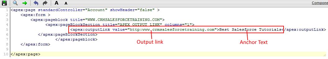 Visualforce apex:outputlink tag
