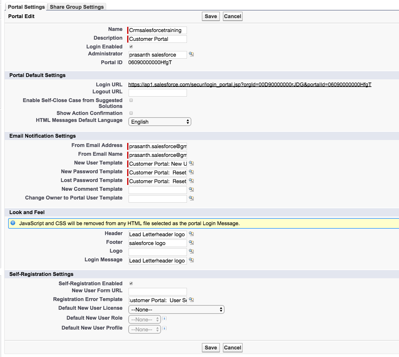 Enabling salesforce customer portal login