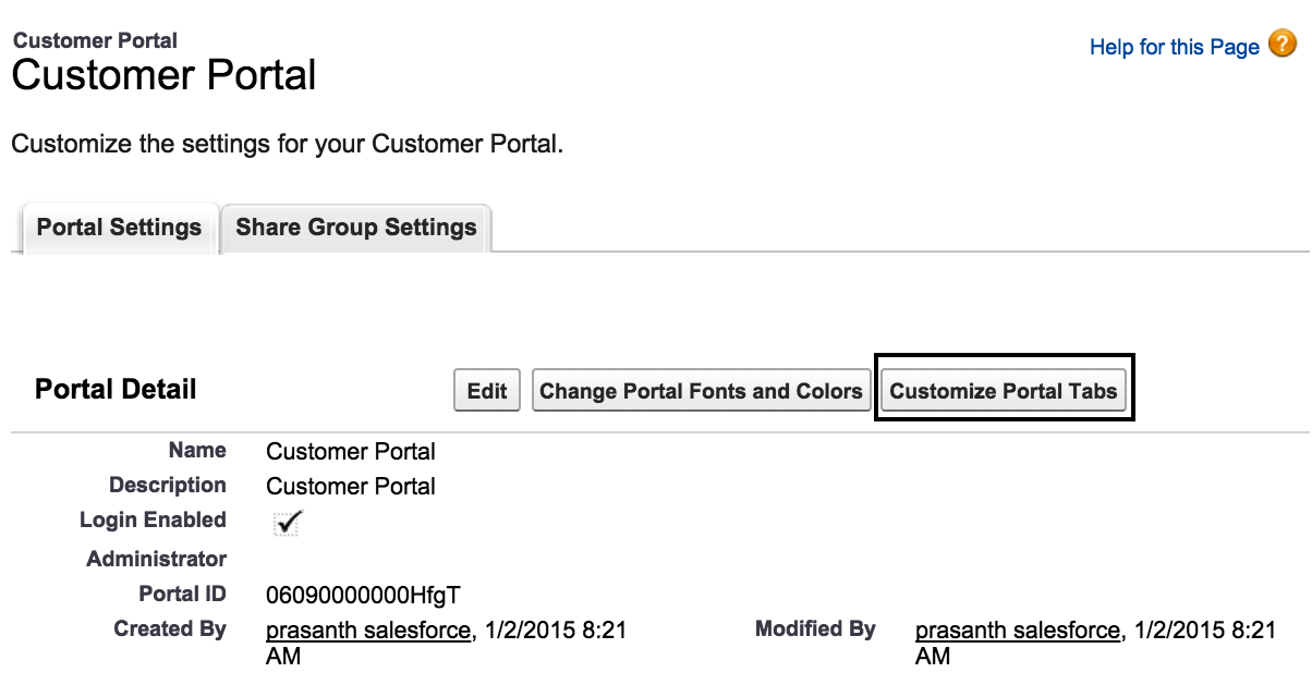 customizing salesforce customer portal tabs