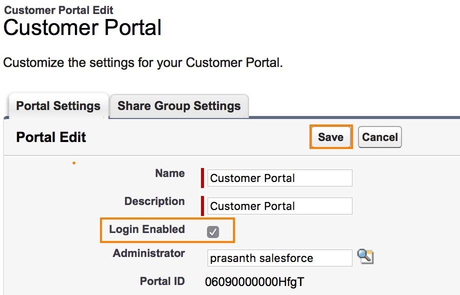 Enabling Customer Portal in Salesforce
